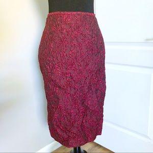 Lafayette 148 Silk Embossed Floral Sheath Skirt